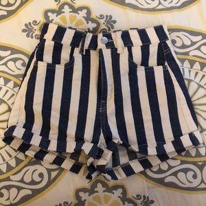Striped High Waisted Denim Shorts